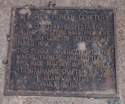 Lewiston Pioneer Cemetery Marker image. Click for full size.