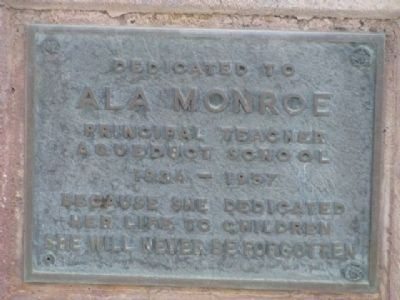 Ala Monroe Dedication Plaque Located at the Old Monoroe High School image. Click for full size.