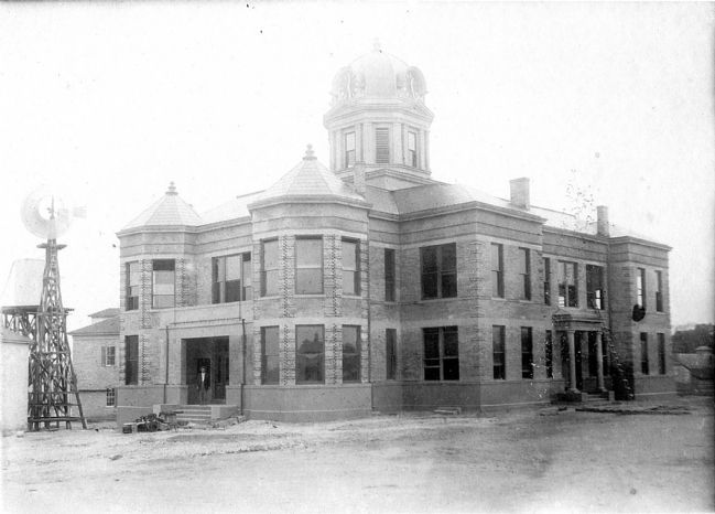 Kinney County Courthouse nearing completion. image. Click for full size.