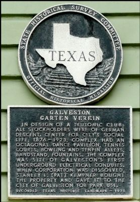 Galveston Garten Verein Marker image. Click for full size.