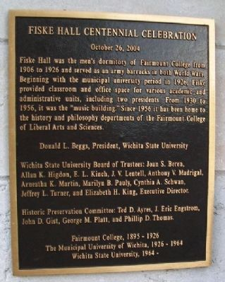 Fiske Hall Centennial Celebration Marker image. Click for full size.