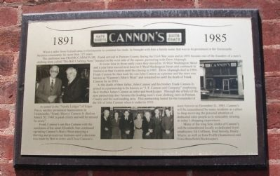 Cannon's Men's Wear 1891 -- 1985 Marker image. Click for full size.