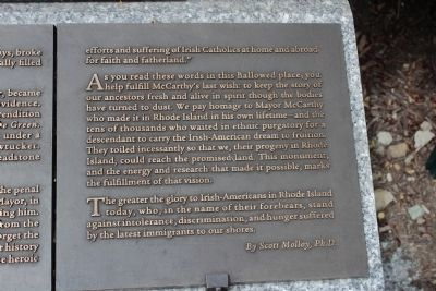 Rhode Island Irish Famine Memorial Marker 10 of 10 image. Click for full size.