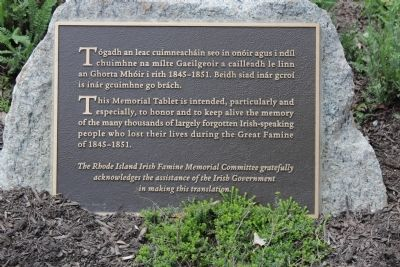 Rhode Island Irish Famine Memorial tablet image. Click for full size.