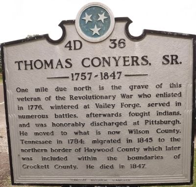 Thomas Conyers, Sr. Marker image. Click for full size.