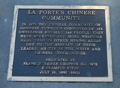 La Porte's Chinese Community Marker image. Click for full size.