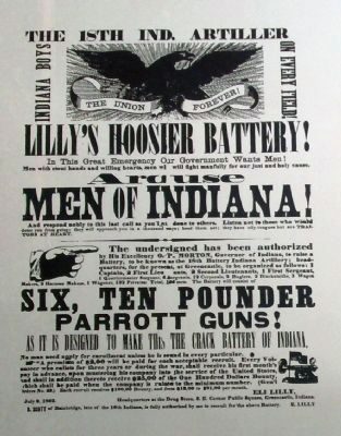 "Copy from Plaque - - ""Lilly's Hoosier Battery"" - Recruiting Poster image. Click for full size."