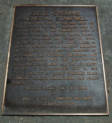 Cleve O'Rourke Memorial Stampmill Marker image. Click for full size.