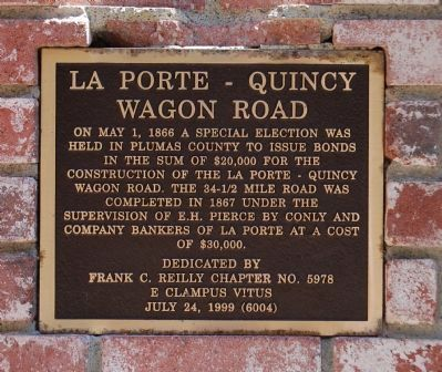 La Porte – Quincy Wagon Road Marker image. Click for full size.