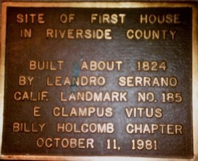 Site of First House in Riverside County Marker image. Click for full size.