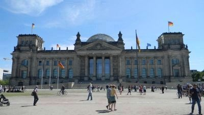 The Reichstag (German Parliament Building) at Platz der Republik, northwest of Pariser Platz image. Click for full size.