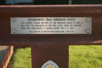Beckwourth Trail – American Ranch Marker image. Click for full size.