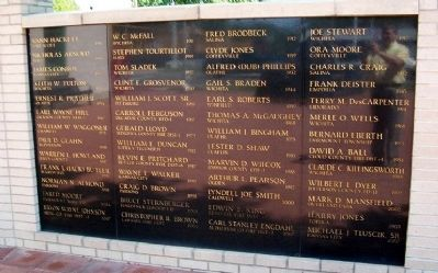 Kansas Fallen Firefighters Memorial Honor Roll image. Click for full size.