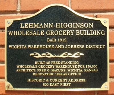 Lehmann-Higginson Wholesale Grocery Building Marker image. Click for full size.