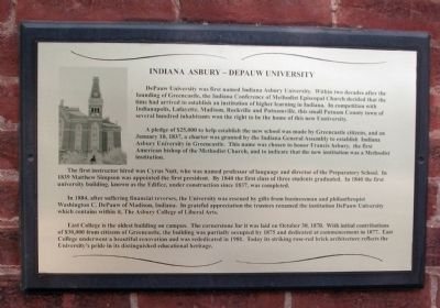 Indiana Asbury - - DePauw University Marker image. Click for full size.