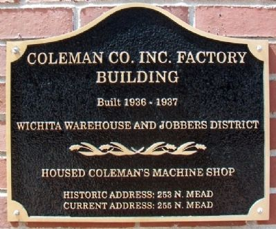 Coleman Co. Inc. Factory Building Marker image. Click for full size.