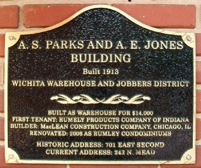 A. S. Parks and A. E. Jones Bldg Marker image. Click for full size.