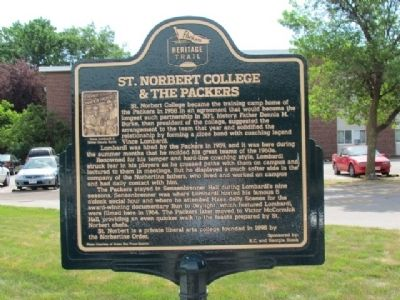 St. Norbert College & The Packers Marker image. Click for full size.