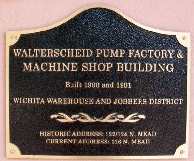 Walterscheid Pump Factory & Machine Shop Building Marker image. Click for full size.