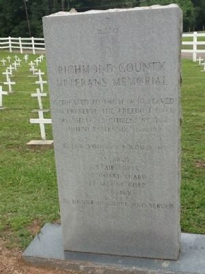 Richmond County Veterans Memorial Marker image. Click for full size.