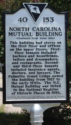 North Carolina Mutual Building Marker, reverse side image. Click for full size.