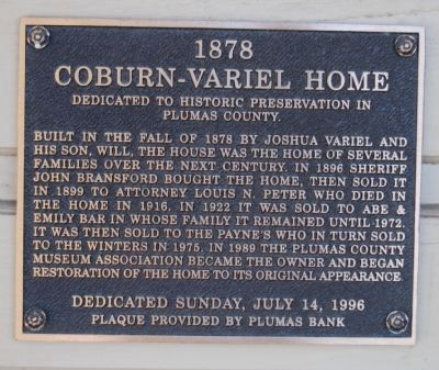 Coburn-Variel Home Marker image. Click for full size.