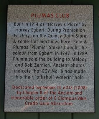 Plumas Club Marker image. Click for full size.