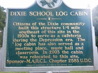 Dixie School Log Cabin Marker image. Click for full size.