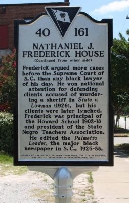 Nathaniel J. Frederick House Marker, reverse side image. Click for full size.