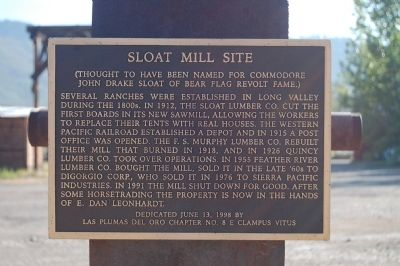 Sloat Mill Site Marker image. Click for full size.