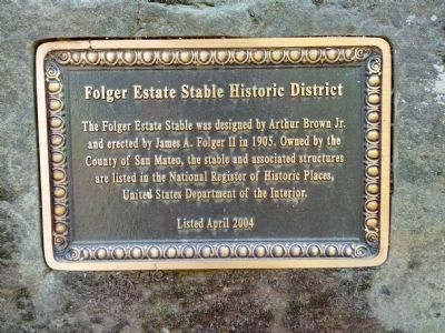 Folger Estate Stable Historic District Marker image. Click for full size.