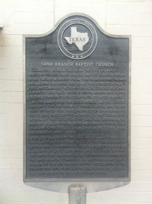 Sand Branch Baptist Church Marker image. Click for full size.