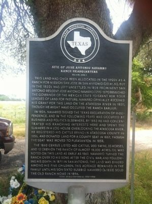 Site of Jose Antonio Navarro Ranch Headquarters Marker image. Click for full size.