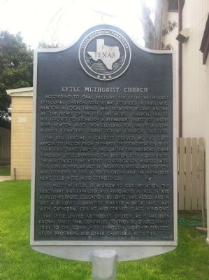 Lytle Methodist Church Marker image. Click for full size.