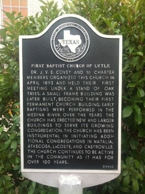 First Baptist Church of Lytle Marker image. Click for full size.