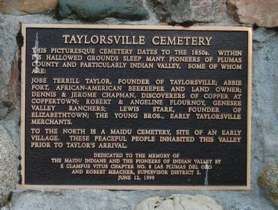 Taylorsville Cemetery Marker image. Click for full size.