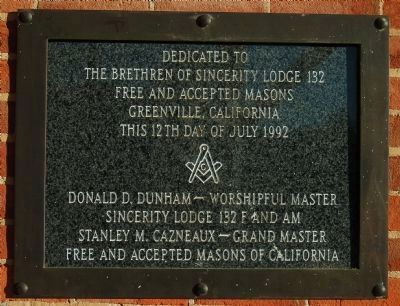 Sincerity Lodge 132 F.&A.M. Plaque image. Click for full size.