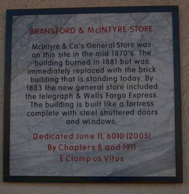 Bransford & McIntyre Store Marker image. Click for full size.