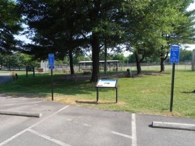 View of Battle of Lewinsville marker from parking lot at Lewinsville Park image. Click for full size.