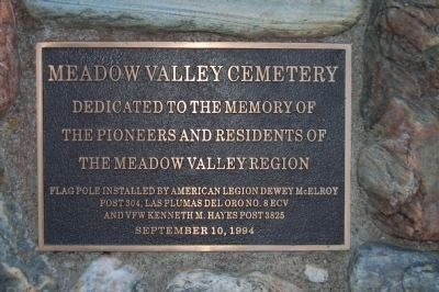 Meadow Valley Cemetery Marker image. Click for full size.
