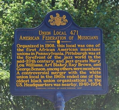 Union Local 471 American Federation of Musicians Marker image. Click for full size.