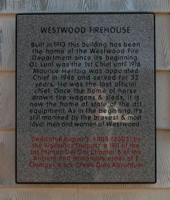 Westwood Firehouse Marker image. Click for full size.