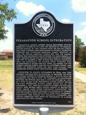 Pleasanton School Integration Marker image. Click for full size.