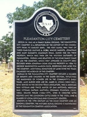 Pleasanton City Cemetery Marker image. Click for full size.