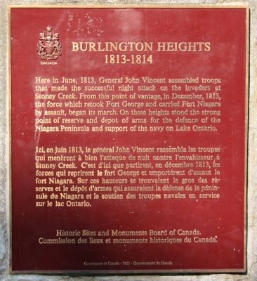 Burlington Heights 1813 - 1814 Marker image. Click for full size.