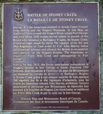 Battle of Stoney Creek Marker image. Click for full size.