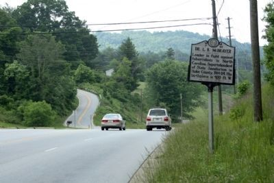Dr. L.B. McBrayer Marker, looking northwest along Brevard Road NC Route191 image. Click for full size.