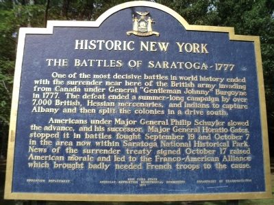The Battles of Saratoga - 1777 Marker image. Click for full size.