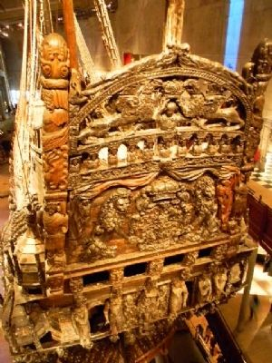 Close-up view of the ship's elaborate and amazingly well preserved stern carvings image. Click for full size.