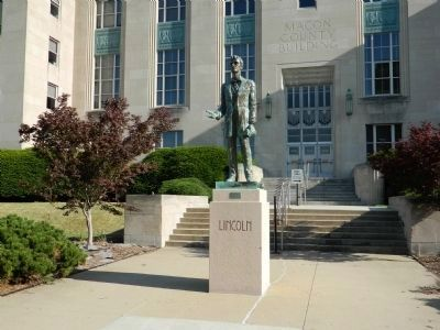 Marker is on the northeast corner of the Macon County Building. image. Click for full size.